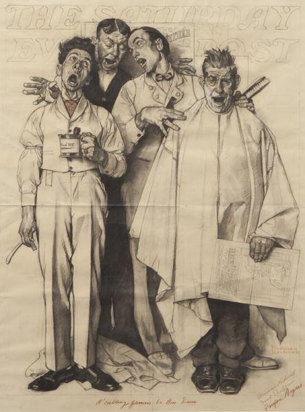 "Norman Rockwell, ""Barbershop Quartet"" charcoal"