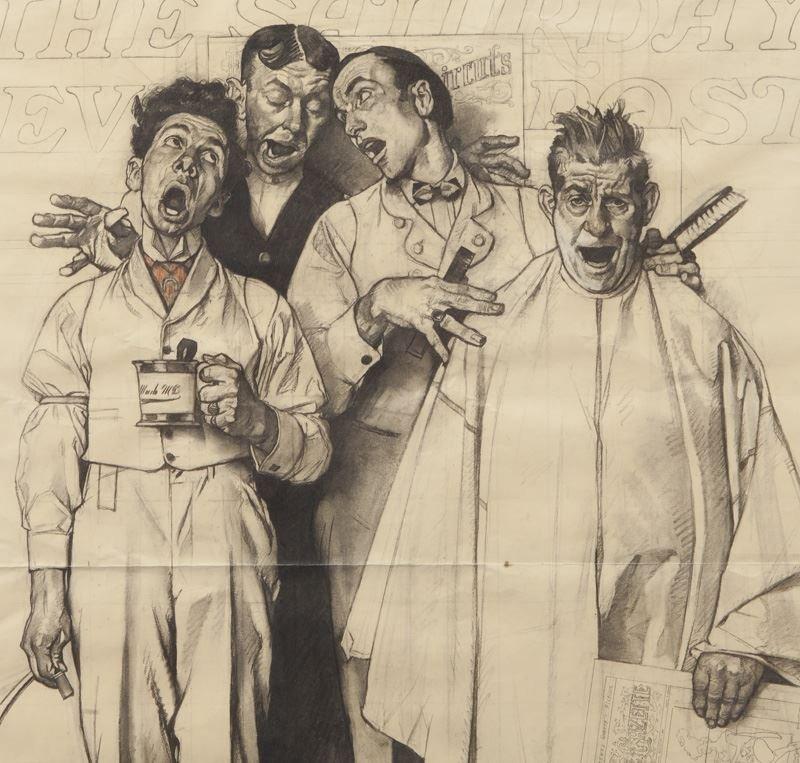 "Norman Rockwell, ""Barbershop Quartet"" charcoal - 3"