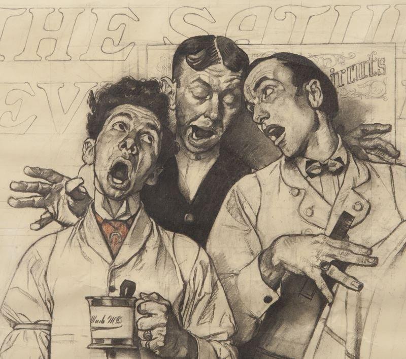 "Norman Rockwell, ""Barbershop Quartet"" charcoal - 4"