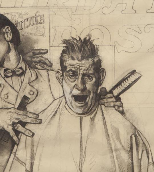 "Norman Rockwell, ""Barbershop Quartet"" charcoal - 5"