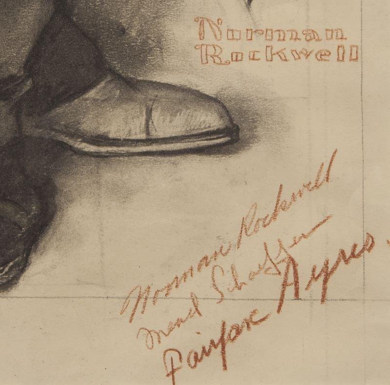 "Norman Rockwell, ""Barbershop Quartet"" charcoal - 7"