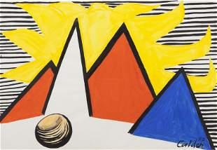 "Alexander Calder, ""Great Yellow Sun"" gouache and"