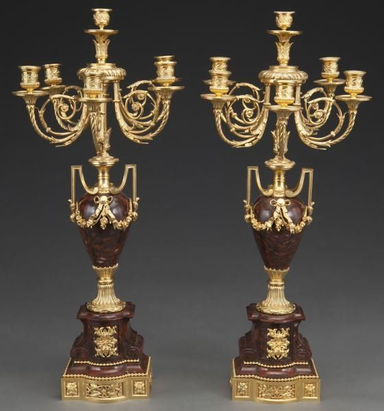 Pr. rouge marble and gilt bronze candelabra