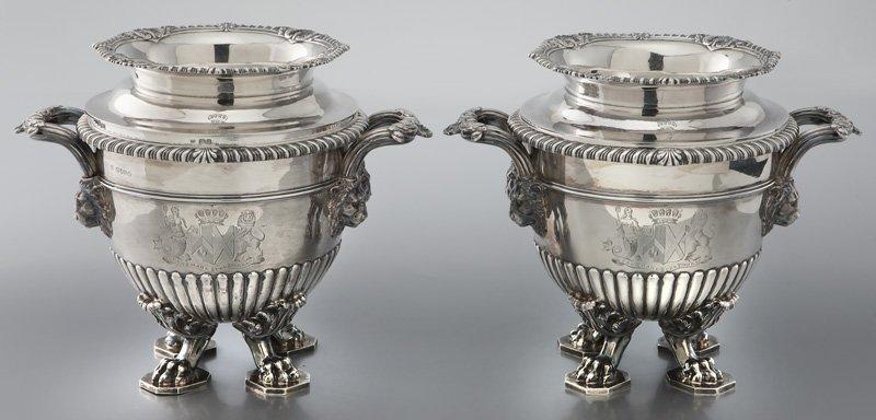 Pr. Paul Storr George III silver wine coolers
