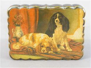 Papier-mâché box with two King Charles S