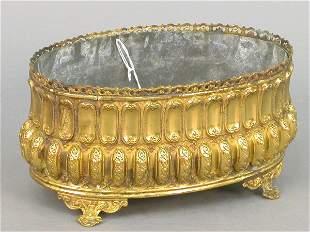 Brass cache pot, repousse' $250-350