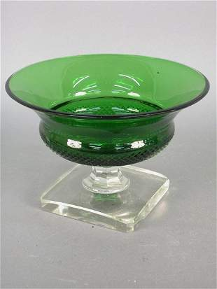 American green glass compote with clear