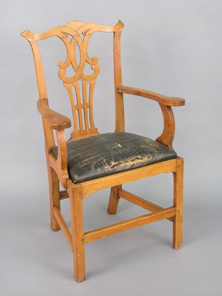 517: Maple Chippendale country arm chair, ori