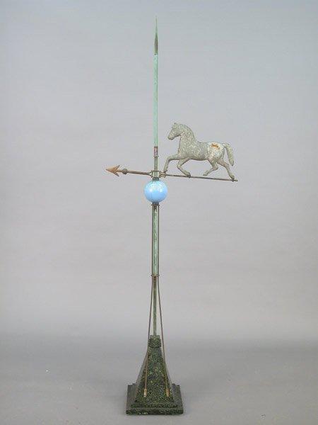 518: Horse motif lightning rod/weathervane on