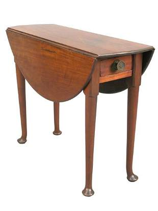 Queen Anne drop-leaf tea table with sing