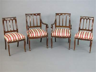 620: Set of eight gothic revival dining chair