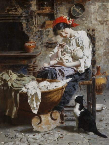 "Eugenio Zampighi, ""Baby's Meal"" oil on canvas."