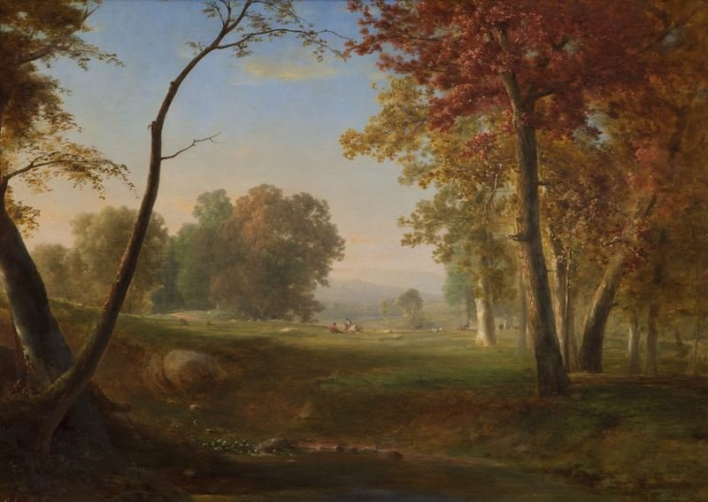 "George Inness, ""Pastoral Landscape"" oil on canvas,"