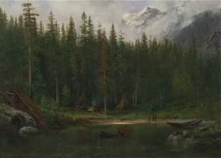 """Albert Bierstadt, """"Indian Camp"""" oil"""