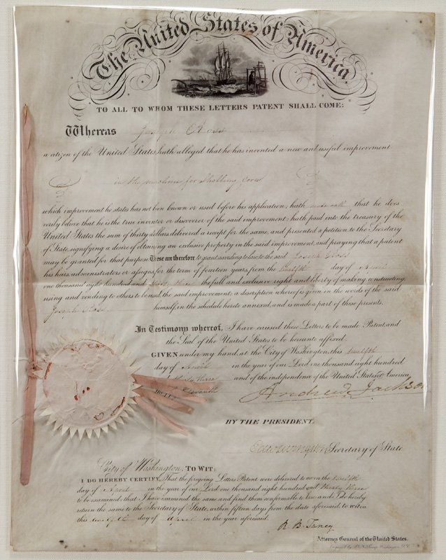 "Andrew Jackson letters patent signed ""Andrew"