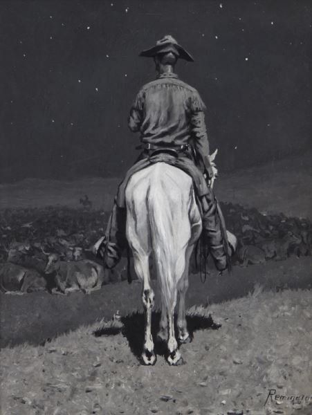 """Frederic Remington, """"The Herd at Night"""" oil en"""
