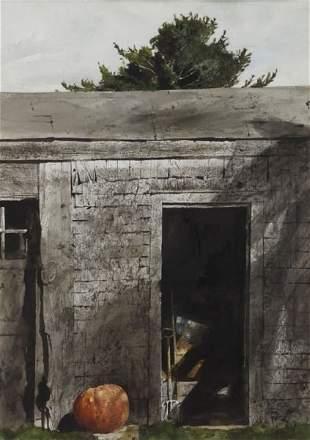 """Andrew Wyeth, """"Maine Door"""" watercolor on paper,"""