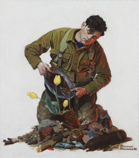 """Norman Rockwell, """"Easter (Soldier Watering Tulip)"""""""