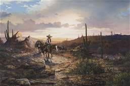 """J. W. Thrasher, """"Untitled (Desert sunset)"""" oil on"""