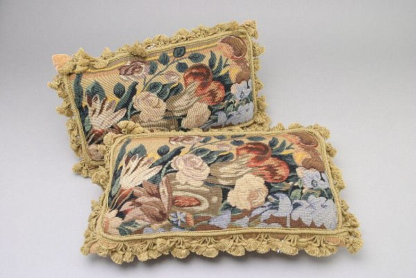 1: Pair of rectangular needle point pillows with
