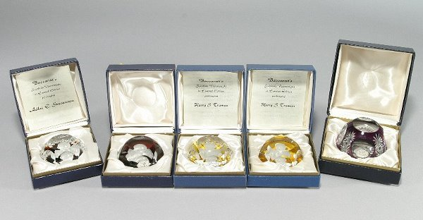2: (5) Baccarat sulfide paperweights, (2) Harry