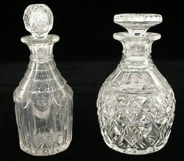3: (2) magnificent cut glass decanters, (1) with