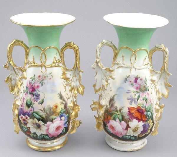 11: Pr. Old Paris porcelain vases with green necks