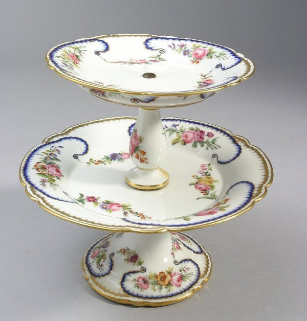 15: French porcelain compote with blue and gold