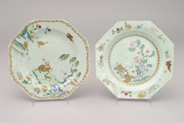 18: (2) 18th C. Chinese Export Famille Rose octagonal