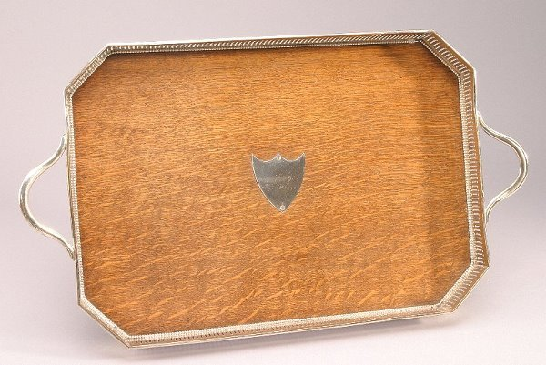 161: An English silver plate & oak gallery tray with