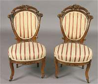 174: Pair American Victorian walnut side chairs