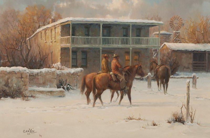 "Barbara Garvin, ""Inn on the Brazos"" oil on canvas,"