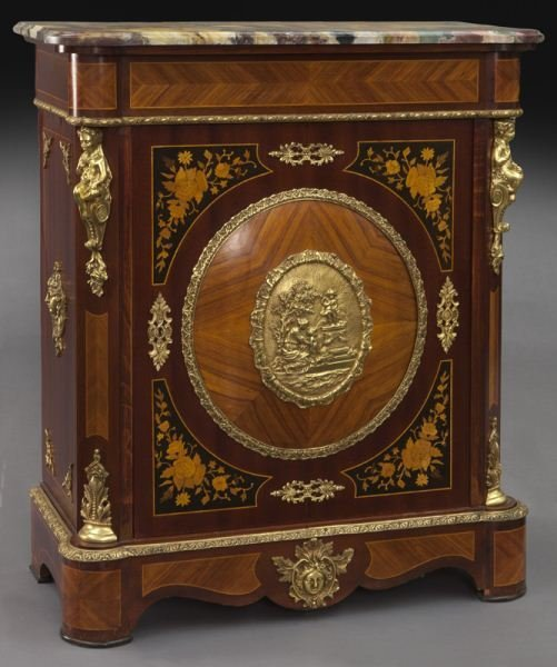 Continental inlaid marble top side cabinet