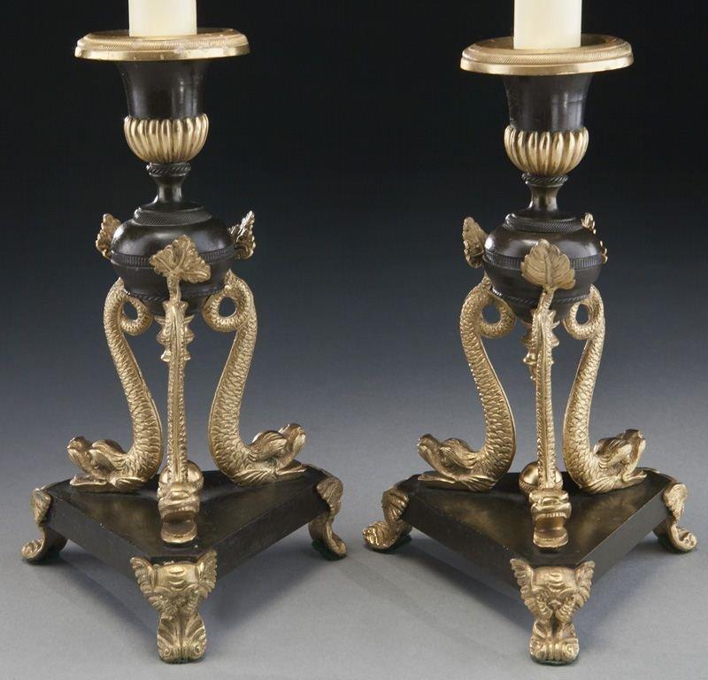 Pr. gilt and patinated bronze candlesticks