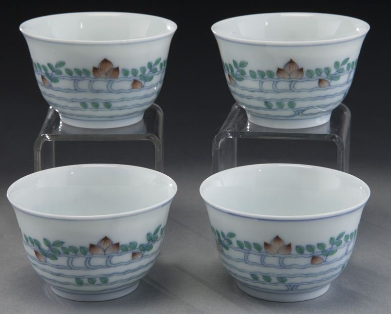 (4) Chinese porcelain teacups