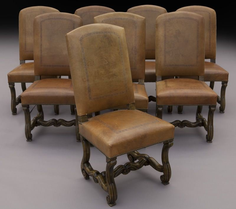 Set (8) Flemish style dining chairs,