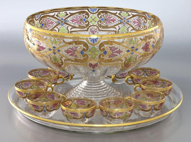 13 Pcs. Fritz Heckert enameled glass punch bowl