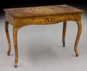 Italian Inlaid Games Table With Inset Burl Panels,