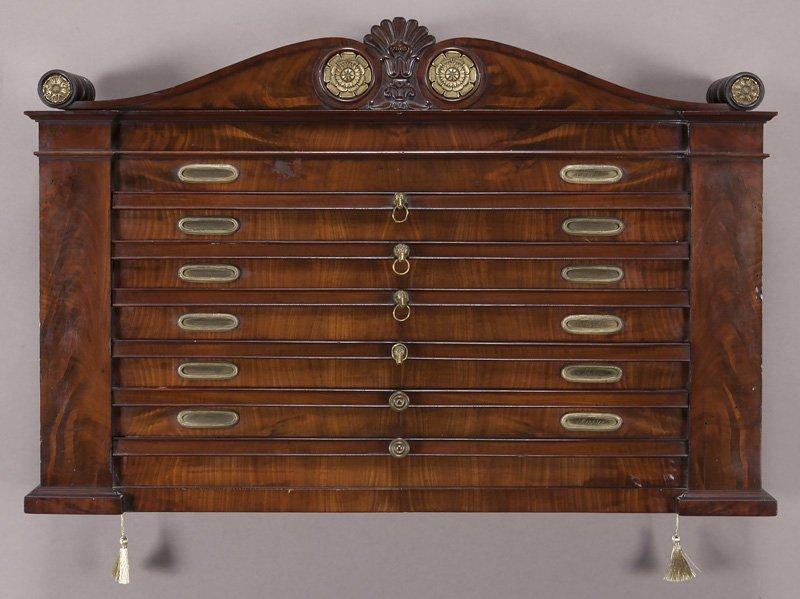 French mahogany wall mounted map case