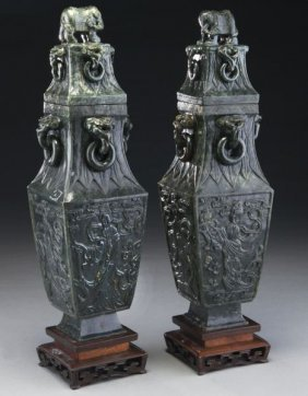 Pr. Chinese Carved Spinach Jade Vases And Covers,