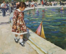 "Yuri Krotov, ""untitled (girl With Toy Boat)"" Oil"