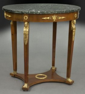 French Empire Style Mahogany Marble Top Table