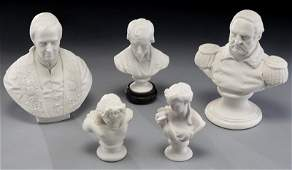 (5) Parian busts including: