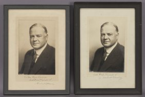 (2) Herbert Hoover Inscribed & Signed Photographs.