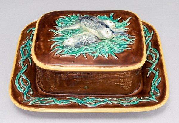 2: A brown Minton Majolica sardine box with an