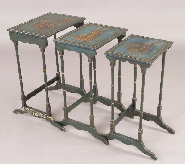 13: Nest of (3) chinoiserie decorated tables with
