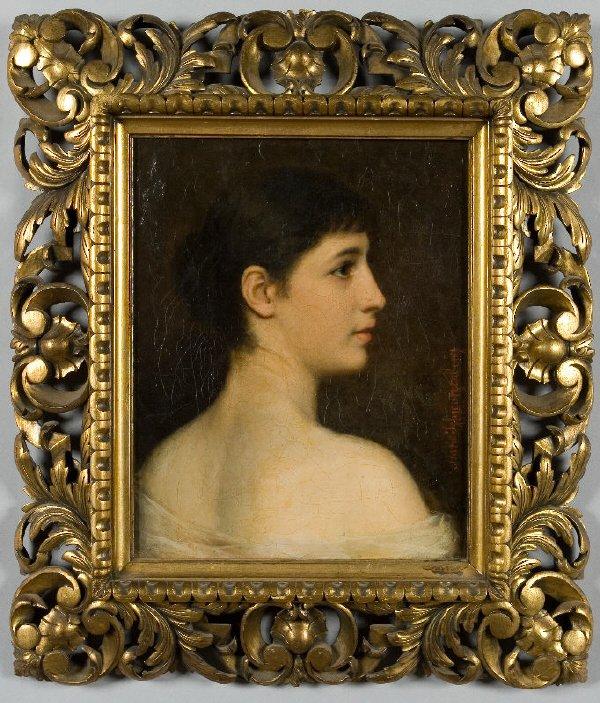 18: Oil painting on canvas quarter length portrait