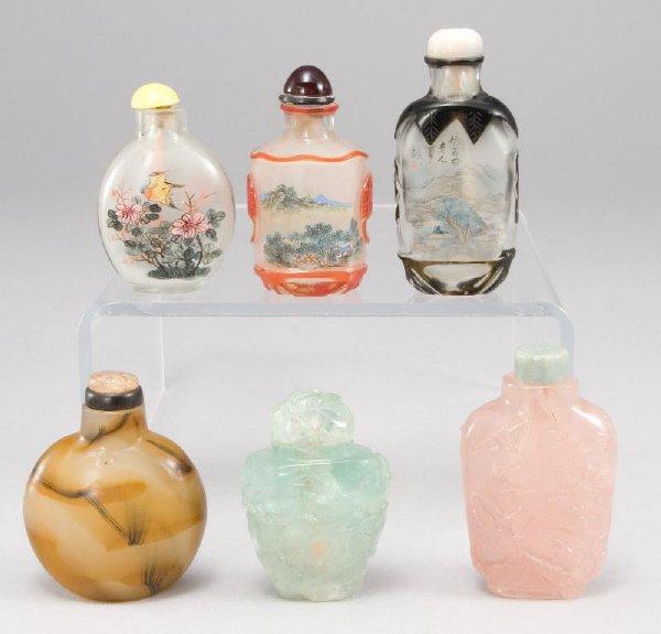 19: (6) Oriental miniature snuff bottles including