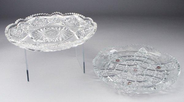 22: (2) American brilliant cut glass trays,