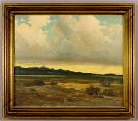"""171: Robert Wood oil on canvas titled, """"Clouds."""""""